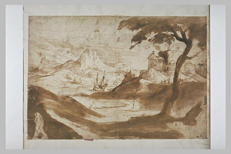 Place-forte dominant un fleuve avec des voiliers, dans un paysage rocheux
