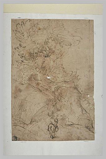 Paysage avec un cavalier et deux hommes à pied gravissant un chemin escarpé