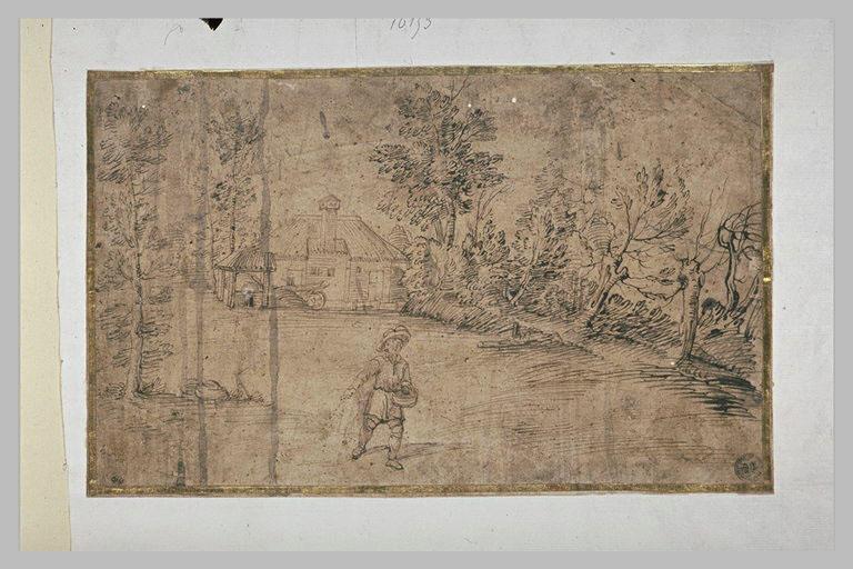 Paysage avec une ferme entourée d'arbres, devant laquelle un homme sème