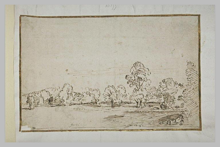 Homme étendu dans une prairie bordée par un bois