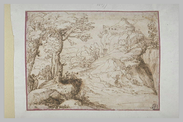 Dans un paysage boisé, deux figures désignant une citadelle sur des falaises