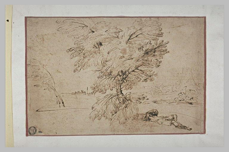 Homme étendu sous un arbre, dans un paysage avec un mont et une ville