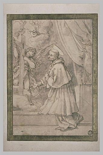 Saint Charles Borromée en prière devant une croix soutenue par un ange