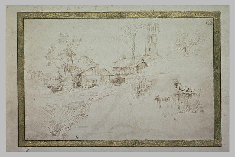 Dans un paysage, homme assis près d'une ferme