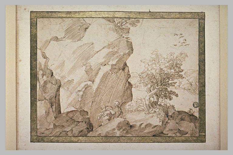 Deux hommes portant un mouton, parmi des rochers, avec un bois au loin
