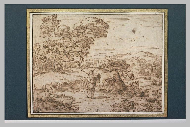 Homme jouant de cornemuse, menant un troupeau, vers une ville