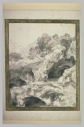 Deux personnages dans un paysage rocheux et escarpé