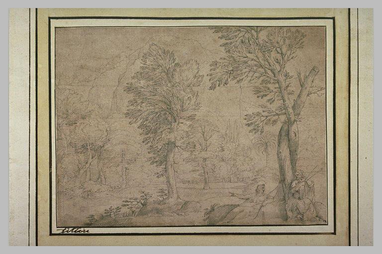 Paysage boisé, avec des montagnes et deux hommes assis au pied d'un arbre