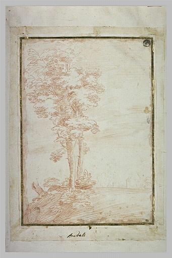 Deux arbres dans un paysage, avec au loin les murs d'une ville