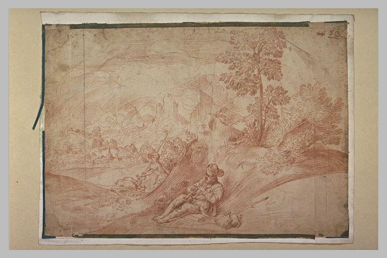 Deux bergers, l'un jouant de la cornemuse, dans un paysage rocheux