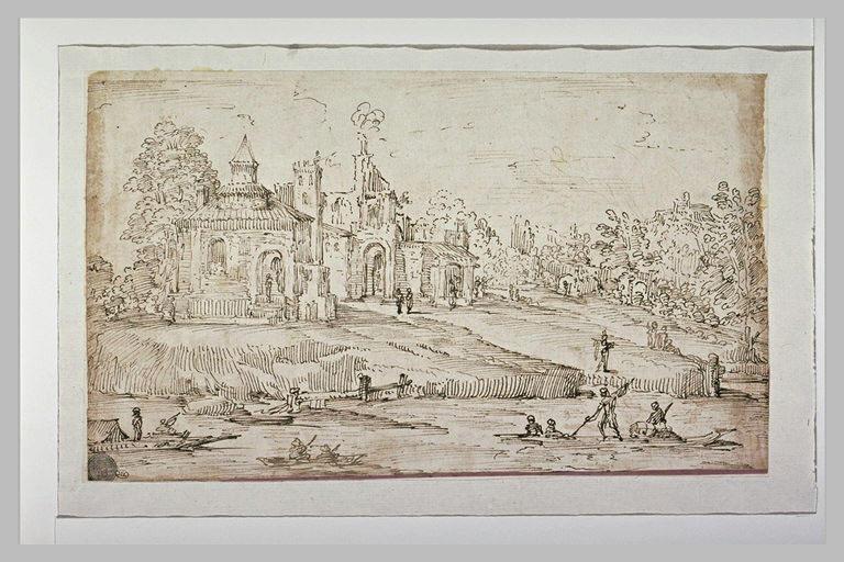 Château au bord d'une rivière animée de nombreuses barques