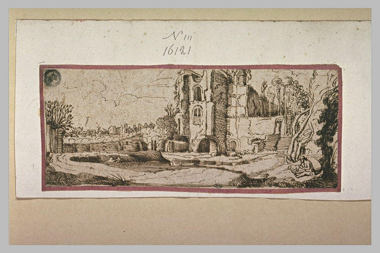 Homme assis avec un chien, dans un château en ruines