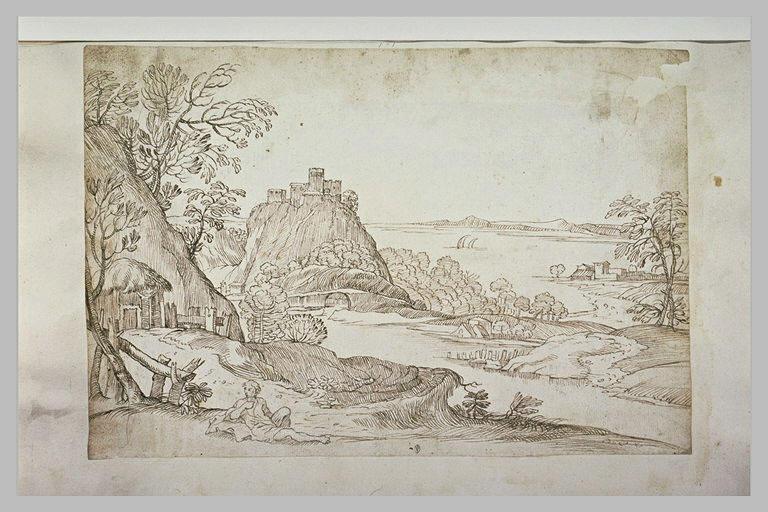 Vaste paysage avec une forteresse sur un promontoire dominant une baie
