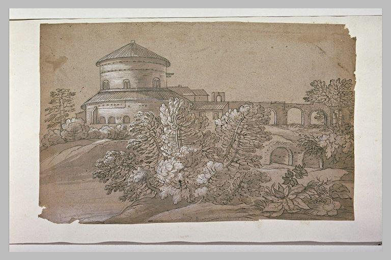 Aqueduc conduisant à un bâtiment circulaire, dans un paysage