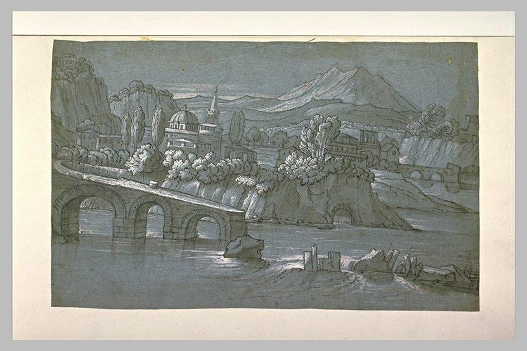 Dans un paysage montagneux, une ville près d'une rivière avec un pont coupé