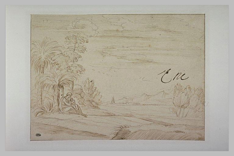 Femme et enfant sous un arbre, dans une plaine