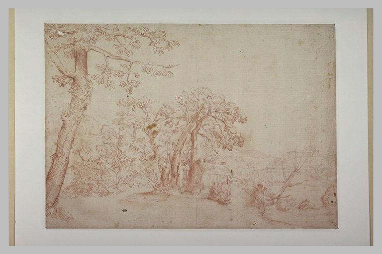 Dans un bois bordé d'une rivière, une femme filant, et deux rameurs