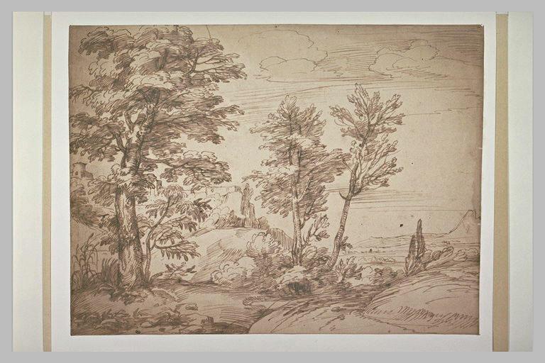 Paysage boisé ouvrant sur une plaine dominée par une citadelle