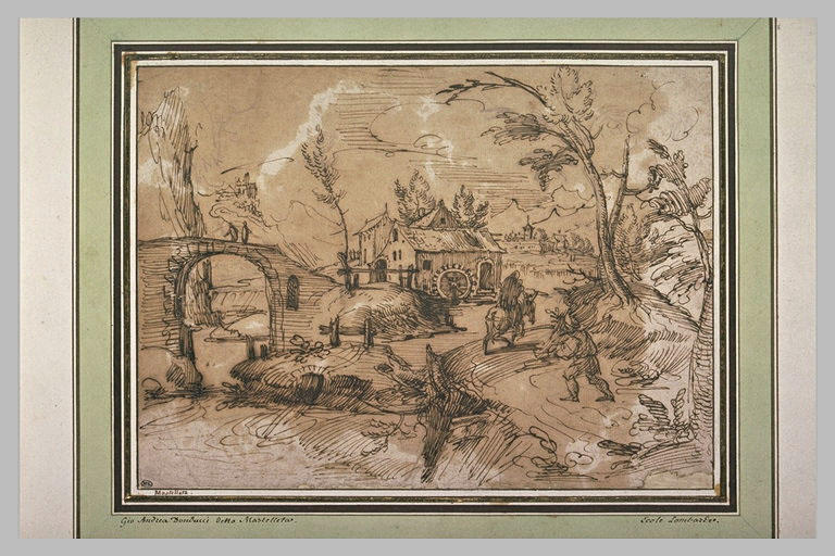 Figures cheminant vers un moulin près d'un pont, dans un paysage montagneux
