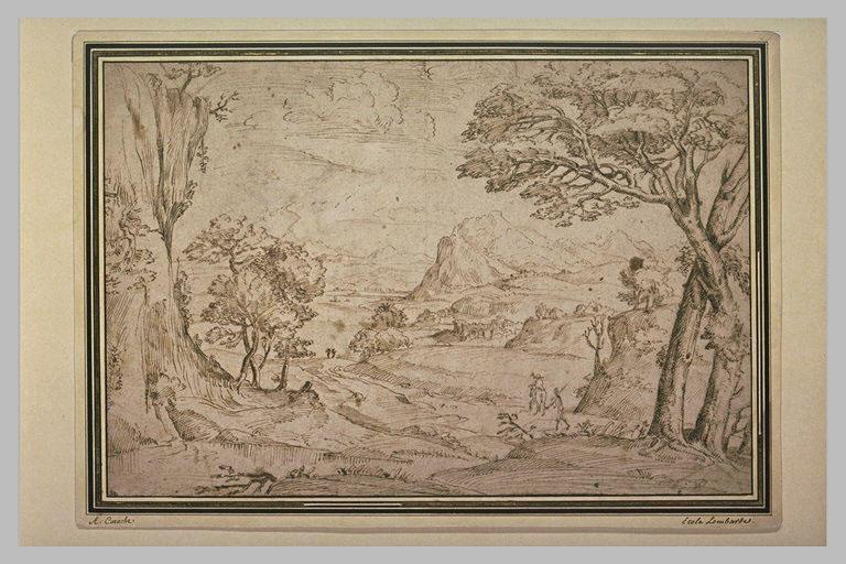 Figures dans un paysage montagneux débouchant sur une vallée