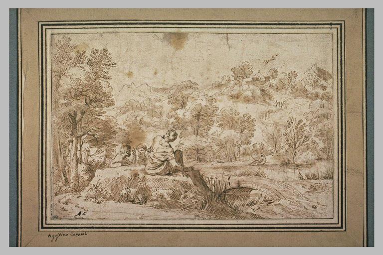 Trois personnages conversant dans un paysage boisé et vallonné
