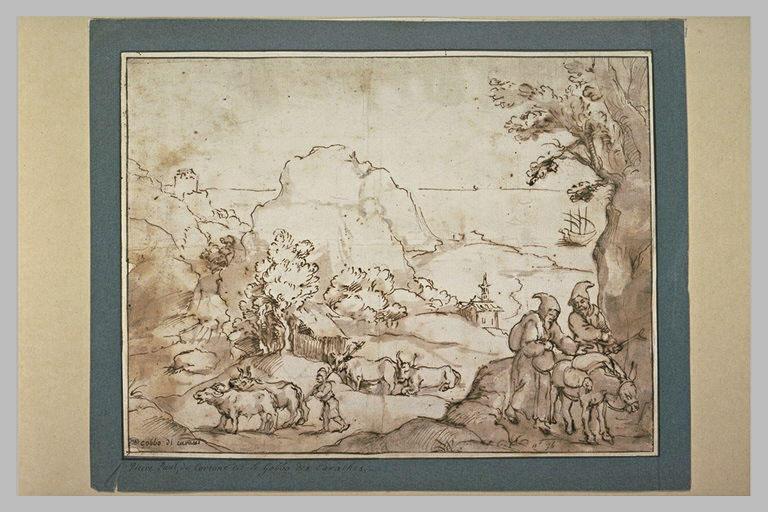 Deux moines conduisant un âne, s'éloignant du bord de mer_0