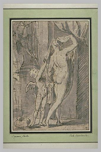 L'Amour et une femme nue vue de dos