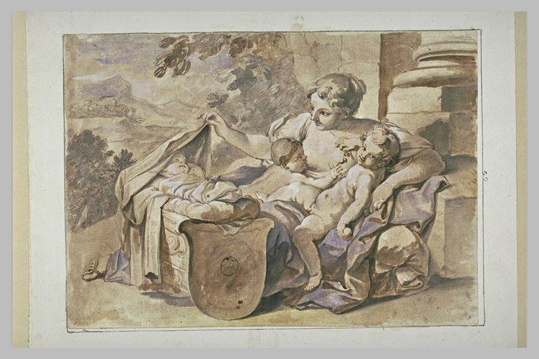 La Charité avec trois enfants dont l'un est endormi dans un berceau