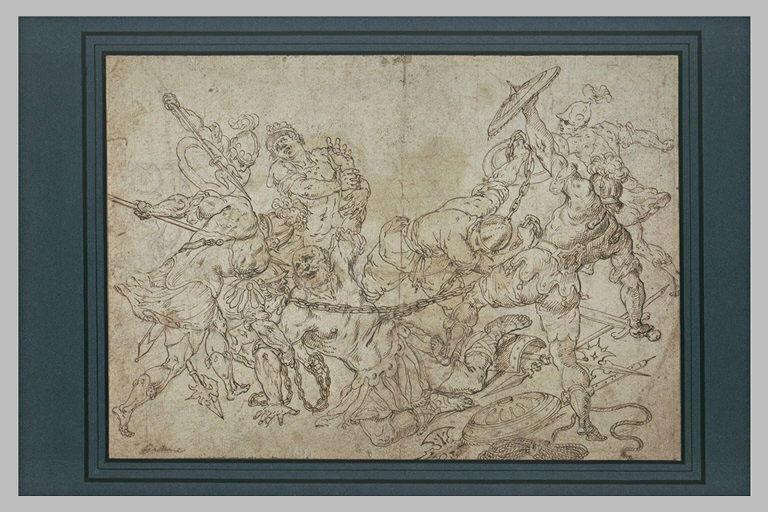 Samson pris par des chaines, entouré de soldats