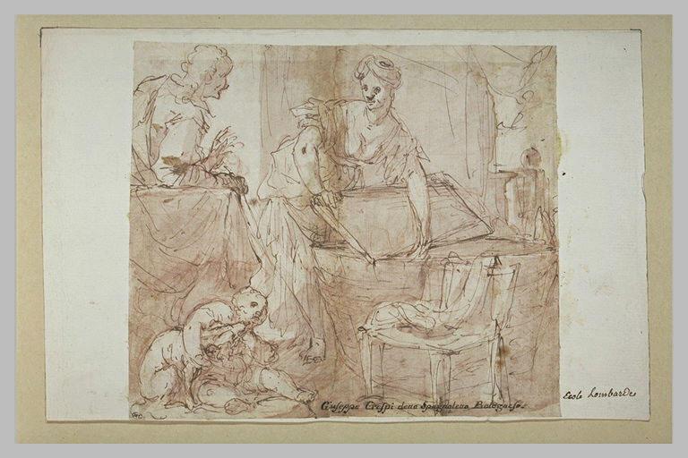 Un intérieur avec une femme, une mendiante, un enfant et un chien