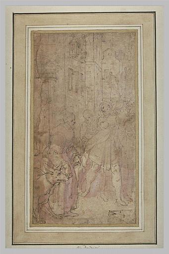 Saint François d'Assise enchainant un loup furieux
