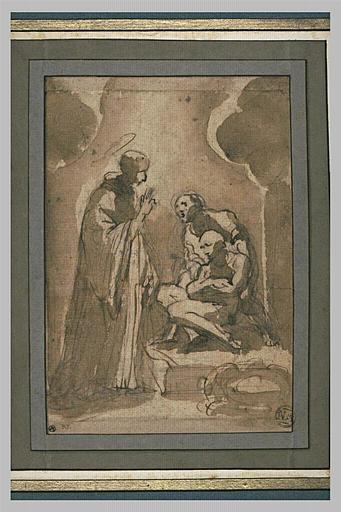 Guerison d'un malade obtenue par la prière d'un saint debout levant la main_0