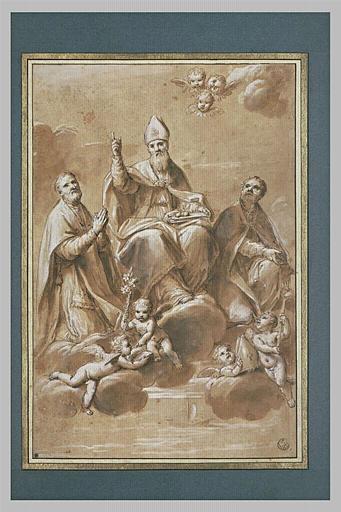 Saint Nicolas, évêque de Mira au milieu de deux saints sur des nuages