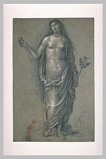 Femme debout, tenant une sphère et un caducée