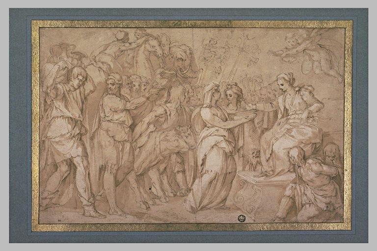 Cortège d'hommes et d'animaux se présentant devant une femme sur un trône