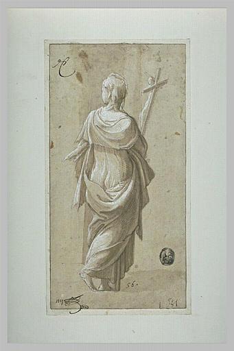 Femme debout, drapée, de dos, tenant un crucifix