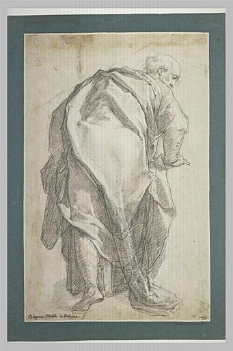 Etude d'un vieillard drapé, de dos, se penchant en avant: apôtre
