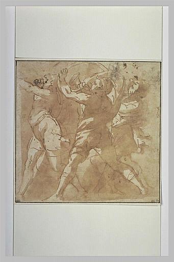 Groupe de trois hommes soufflant dans des cors