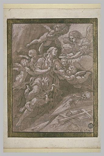 La Madeleine reçevant la communion des mains d'un ange
