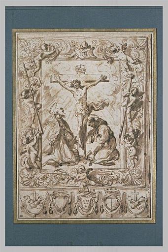 Projet de bannière : saint François et le pape Clément I près de la Croix