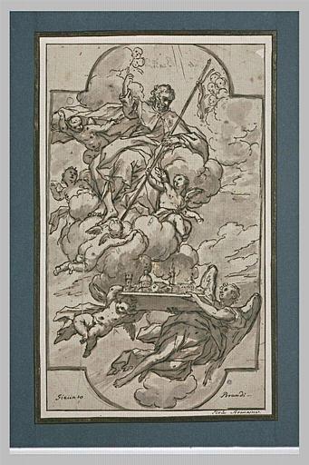 Saint Jacques de Compostelle sur des nuées, avec la maquette d'une basilique