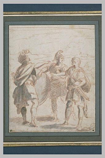 Achille se regardant dans son bouclier tenu par deux guerriers