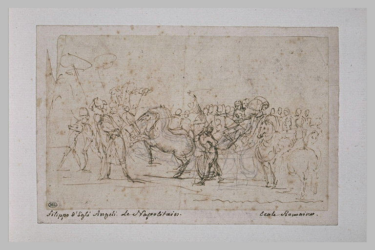 Cortège d'un triomphe avec un guerrier dans un char