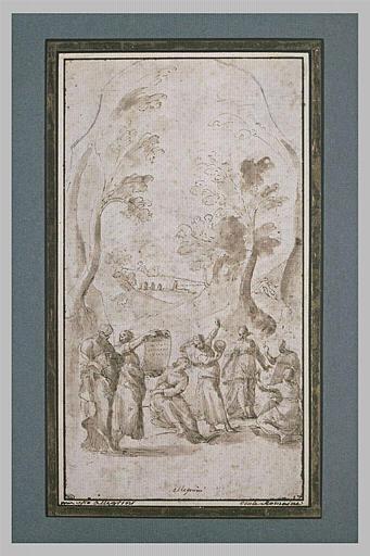 Scène allégorique avec un homme barbu, et six femmes