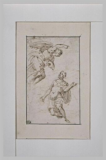 Un soldat à genoux devant un ange