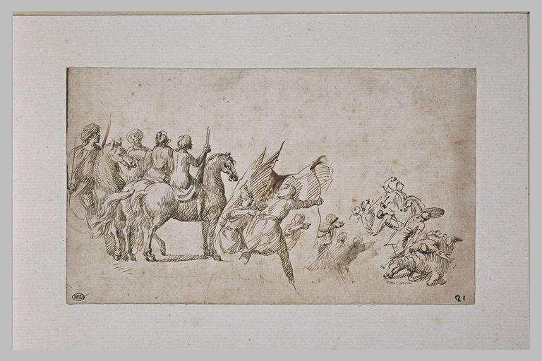 Guerriers à cheval et à pied, combattant
