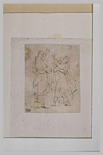 Deux figures drapées s'agitant