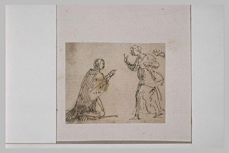Femme agenouillée devant une autre femme