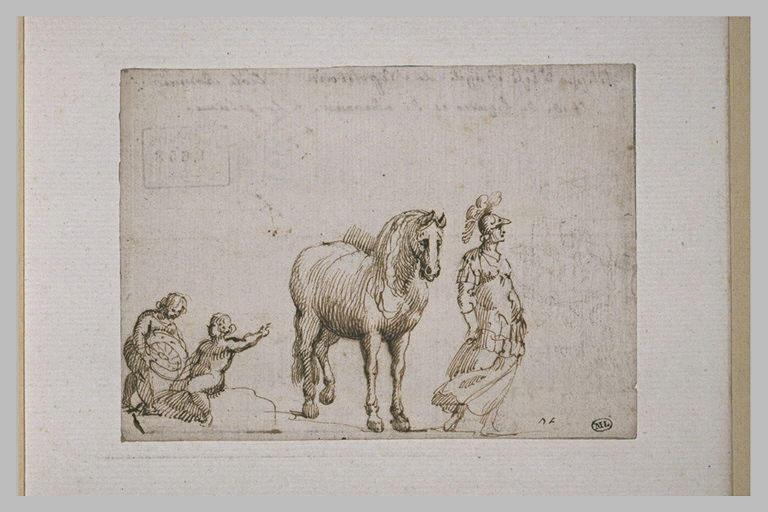 Etude d'un cheval, d'une Bellone et de deux enfants tenant une roue