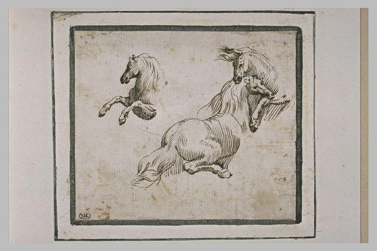 Trois études partielles de chevaux en mouvement
